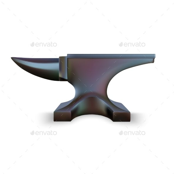 Iron Anvil Isolated on White Background