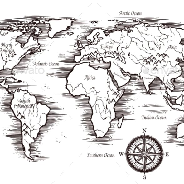 Sketch World Map Template