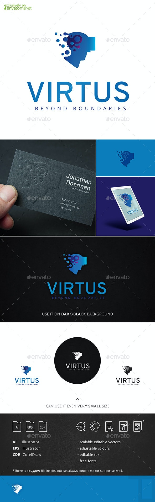 Virtus VR Head Logo Template - Humans Logo Templates