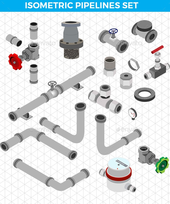 Isometric Pipelines Set - Man-made Objects Objects