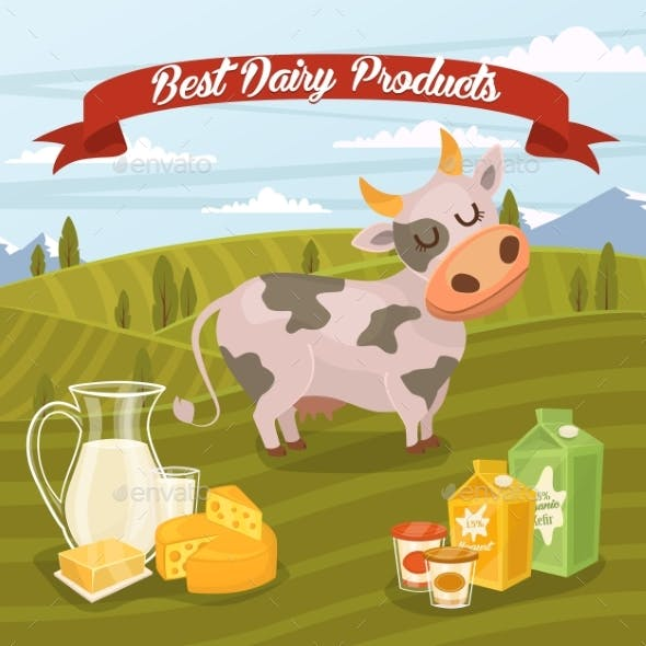Dairy Products Banner With Rural Landscape
