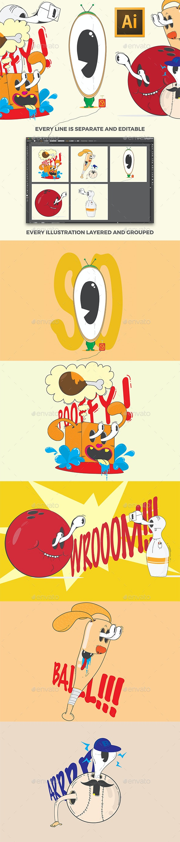 Funny Illustrations Pack - Characters Illustrations