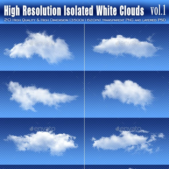 20 High Resolution Isolated White Clouds vol.1
