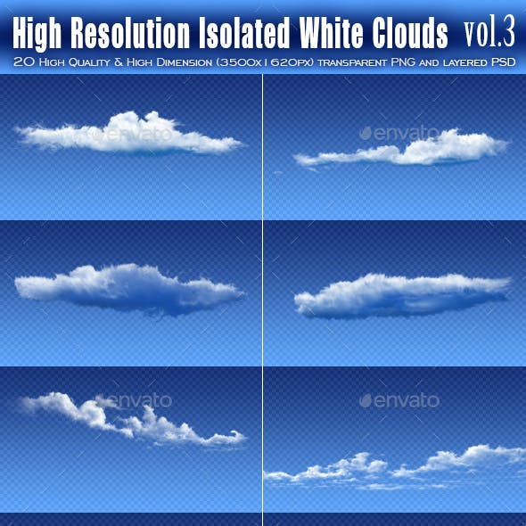20 High Resolution Isolated White Clouds vol.3