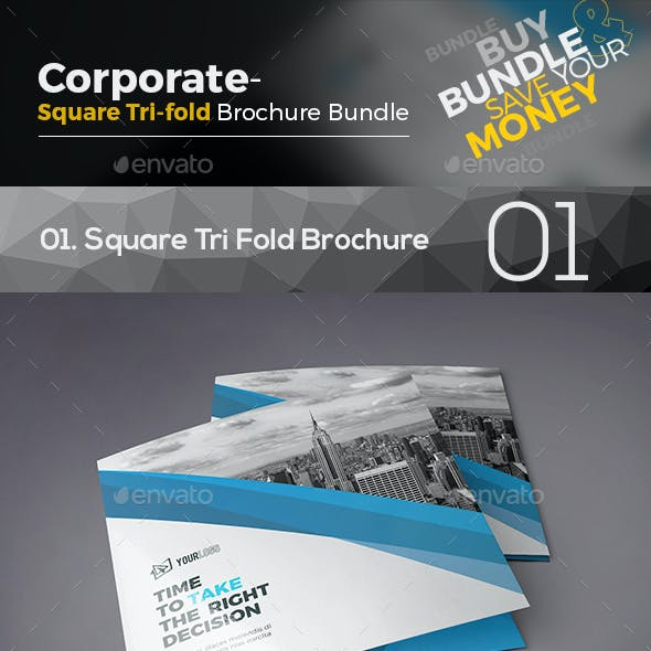 Square Tri Fold Brochure Bundle 3 in 1