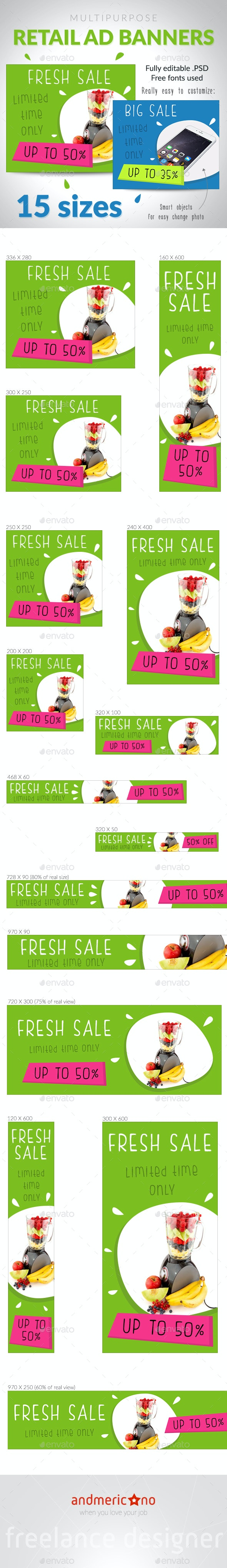 Fresh Sale Ad Banners - Banners & Ads Web Elements