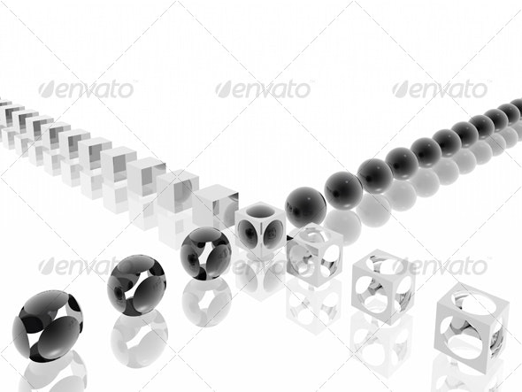 black-white morphing - Abstract 3D Renders