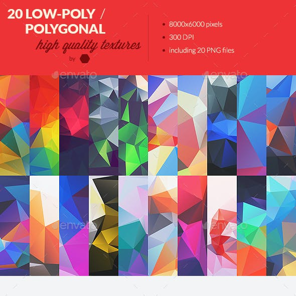 20 Low-Poly Polygonal Background Textures #4