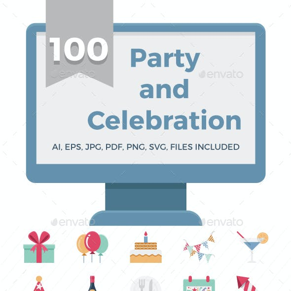 100 Celebration and Party Colored Vector Icons