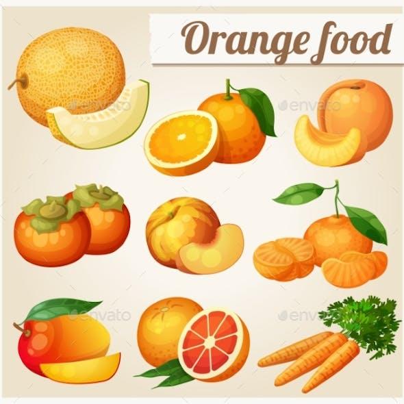 Set Of Cartoon Food Icons. Orange Food. Melon