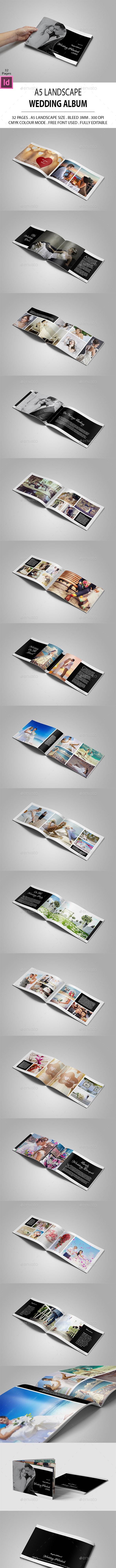 A5 Landscape Wedding Album - Photo Albums Print Templates