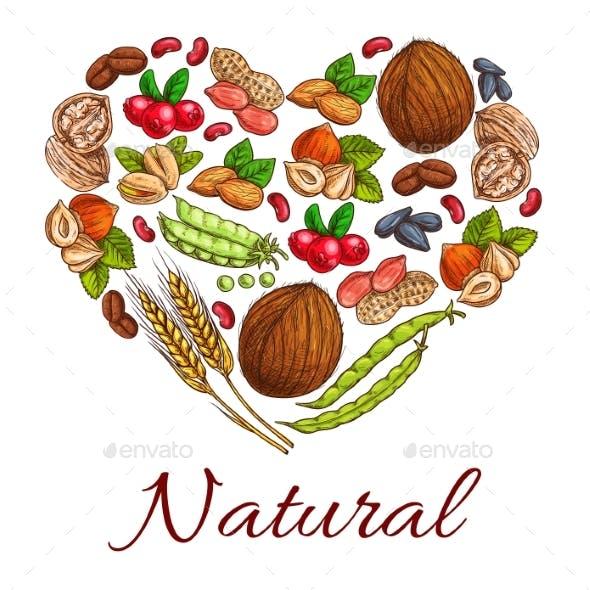 Healthy Nuts, Grain, Berries In Heart Shape