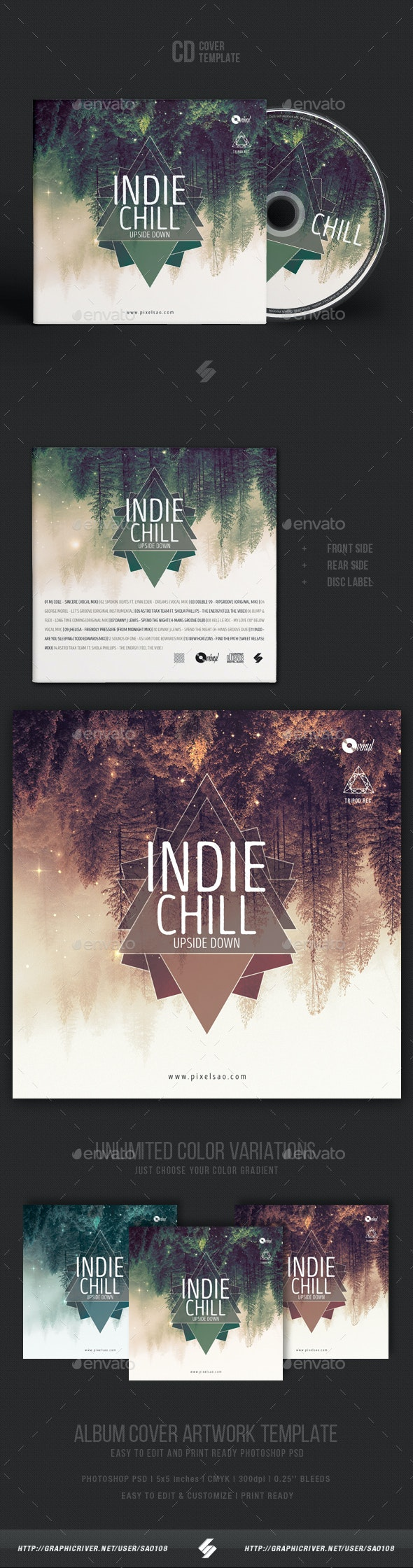 Indie Chill Music - CD Cover Artwork Template - CD & DVD Artwork Print Templates