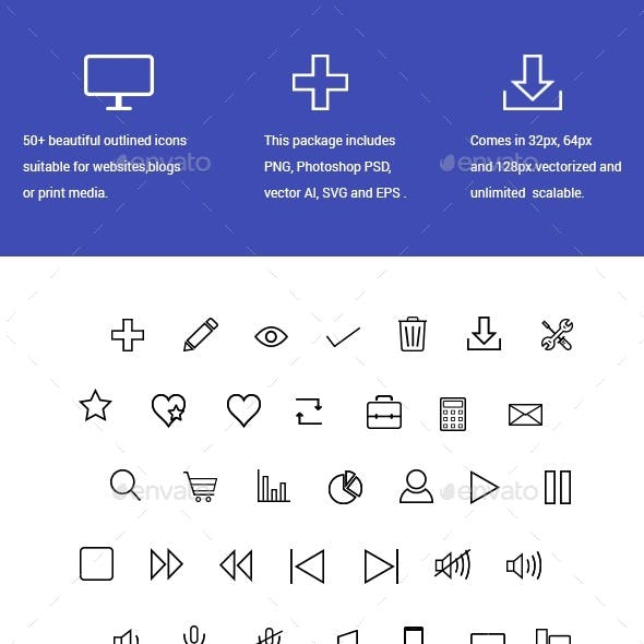 50+ Line Icons for Web