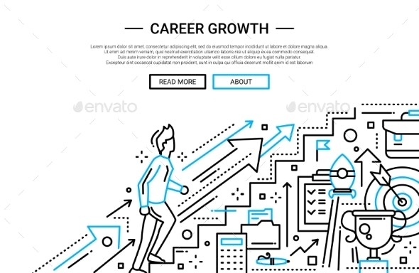 Career Growth Line Flat Design Website Banner By Boykopictures Graphicriver