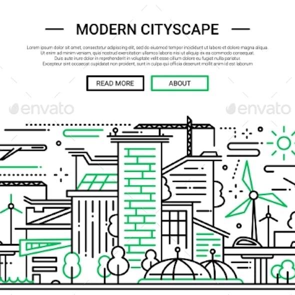 Modern Cityscape - Line Design Website Banner