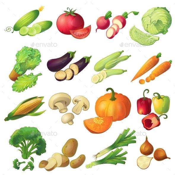 Fresh Vegetables Icon Set - Decorative Symbols Decorative