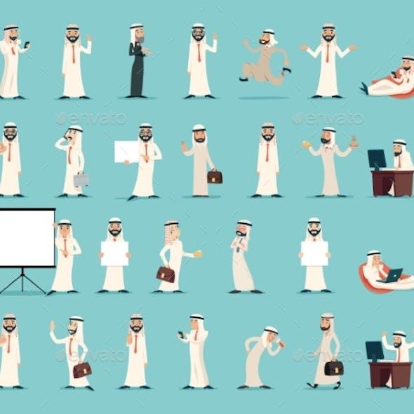 Arab Businessman Character Icons Set Retro Vintage