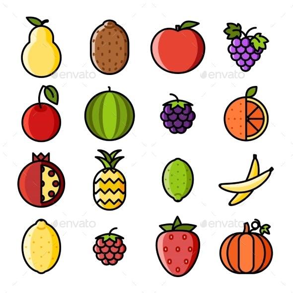 Fresh Fruit Icons Set Flat Design Line Art