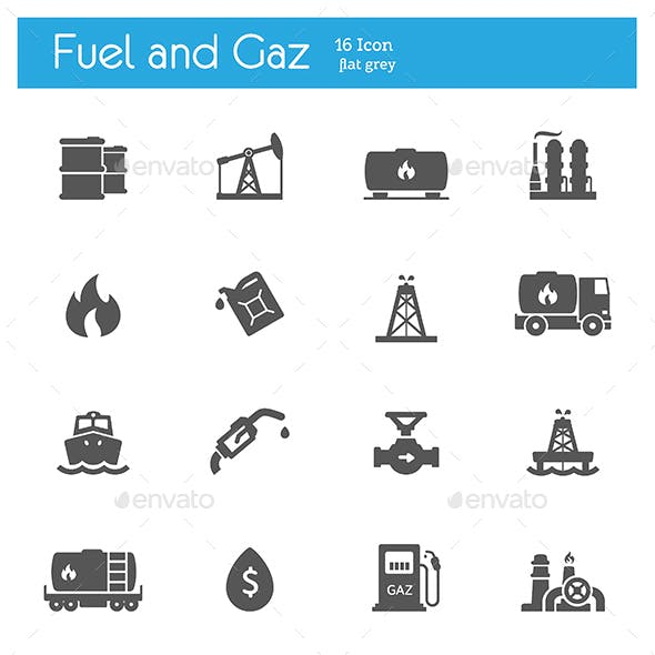 Industry, fuel and gaz icons