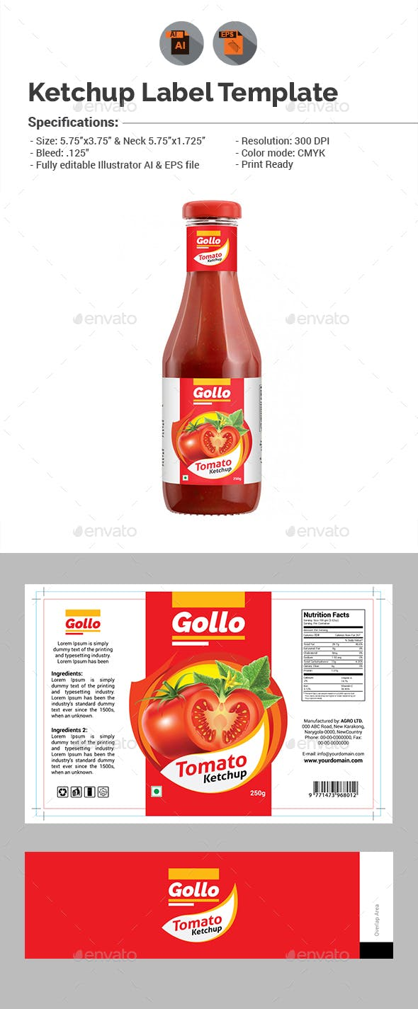 Ketchup Label Template Packaging Print Templates