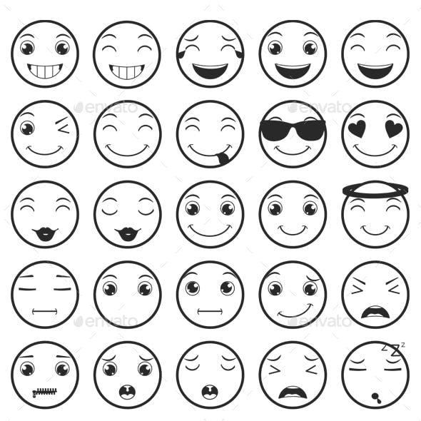 Line Emoticons / Emoji Vector Set