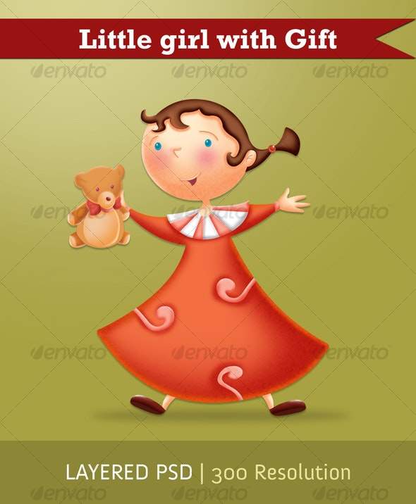 Little girl with gift - Illustrations Graphics
