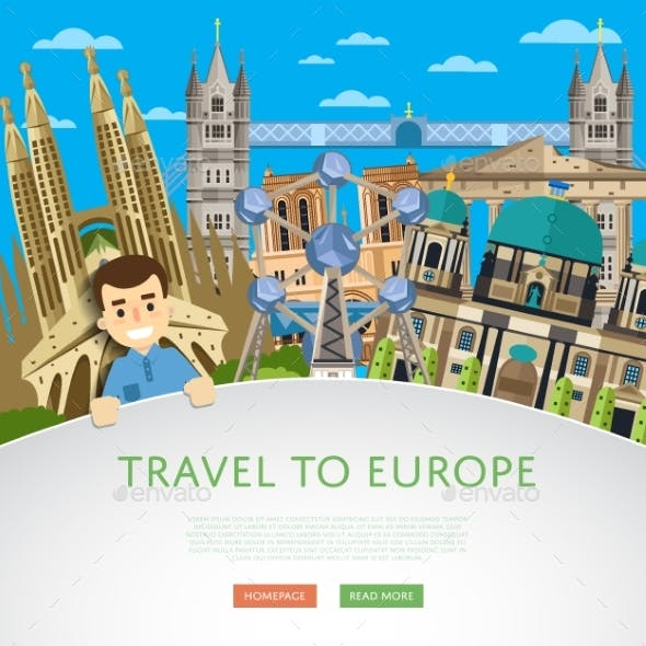 Travel To Europ Template With Famous Attractions