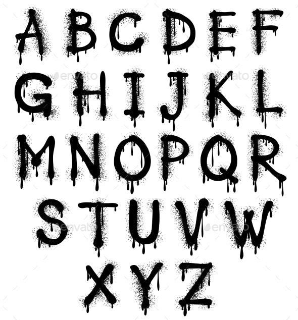 Graffiti Splash Vector Alphabet, Font, Grunge Text - Miscellaneous Vectors