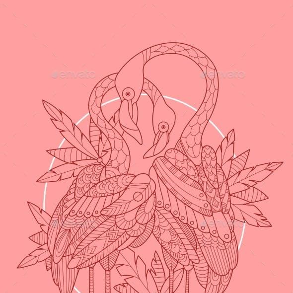 Flamingo Bird Tattoo Design Vector Illustration