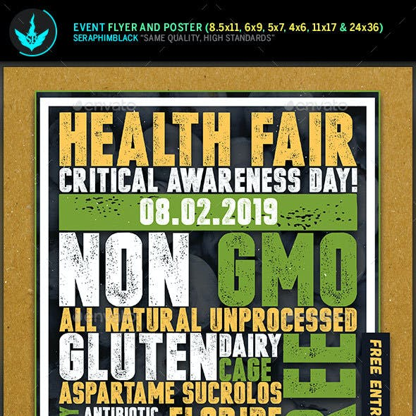 Health Fair Typography Flyer and Poster Template