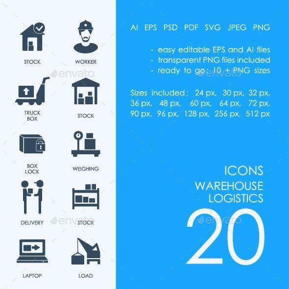 Warehouse logistics icons
