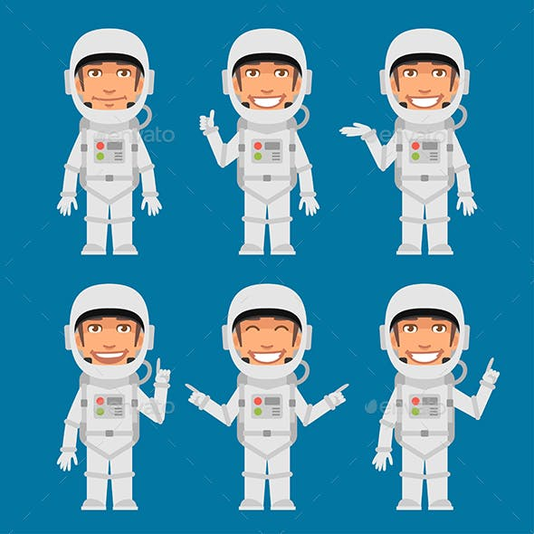 Astronaut Indicates and Shows