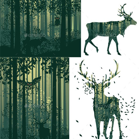 Deer and Abstract Forest Landscape