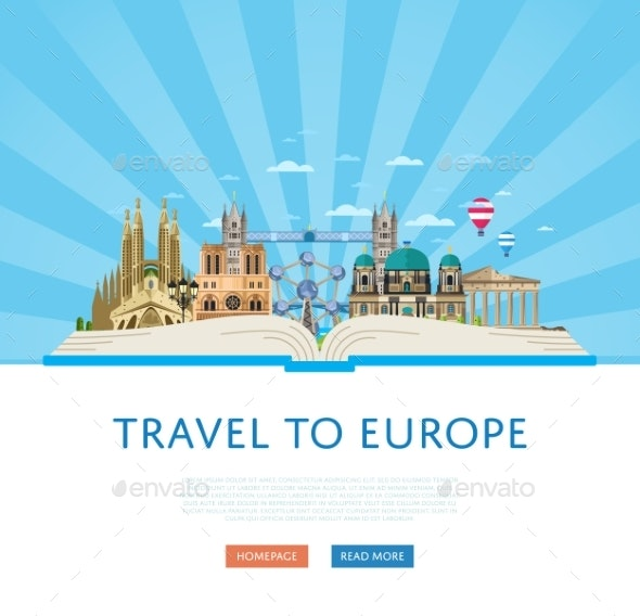 Travel To Europe Poster With Famous Attractions. - Travel Conceptual