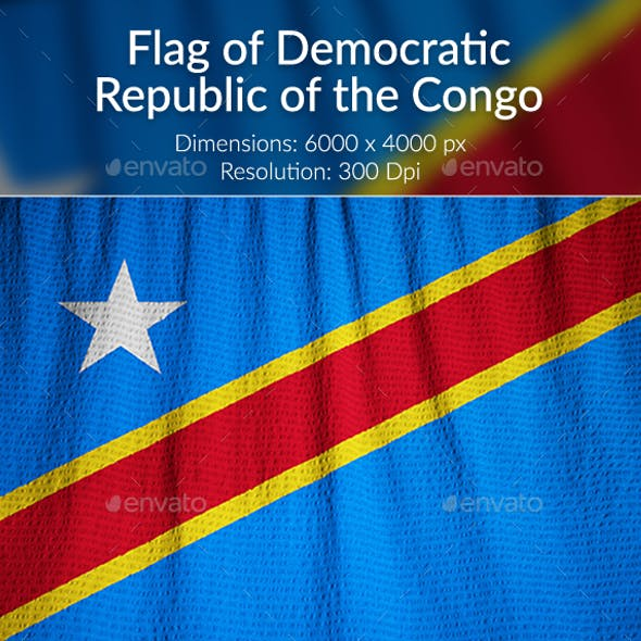 Ruffled Flag of Democratic Republic of the Congo