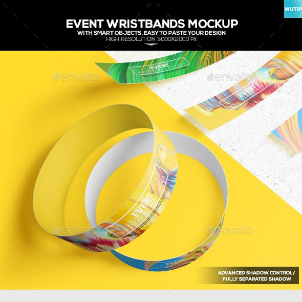 Event Wristbands Mockup