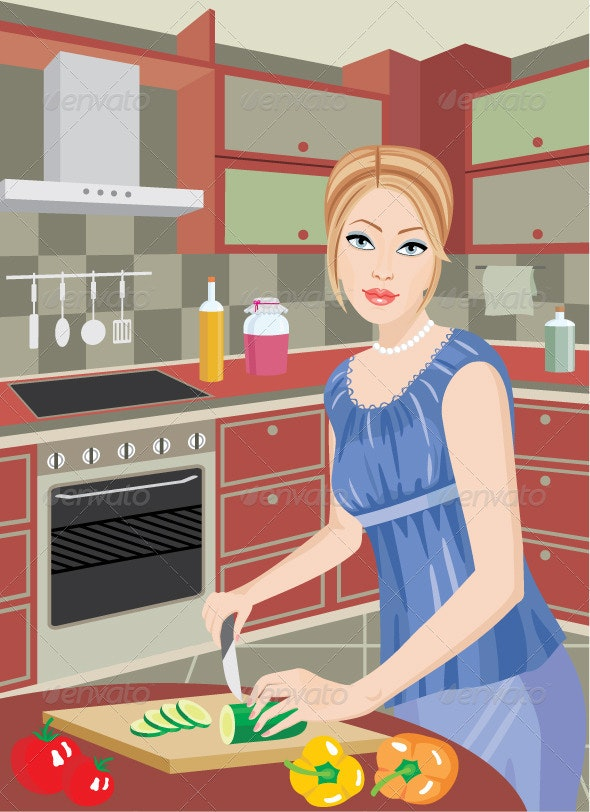 The young Woman in Kitchen Cuts Vegetables - Objects Vectors
