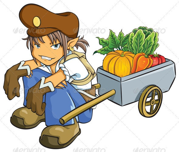 Merchant Selling Vegetables - People Characters