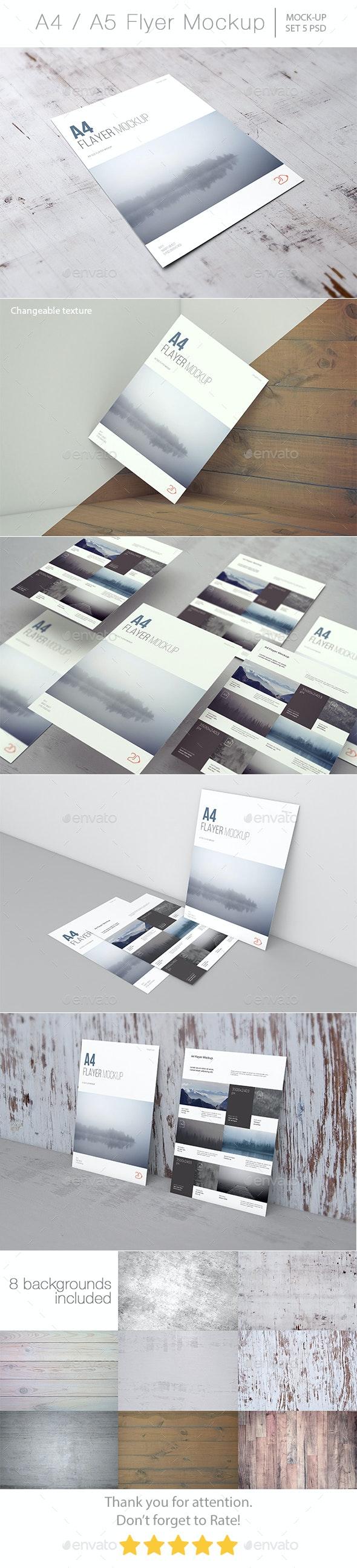 A4 / A5 Flyer Mockup - Product Mock-Ups Graphics