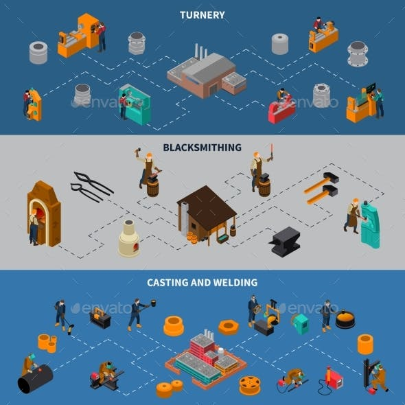 Metalworking Process Isometric Infographic Banners