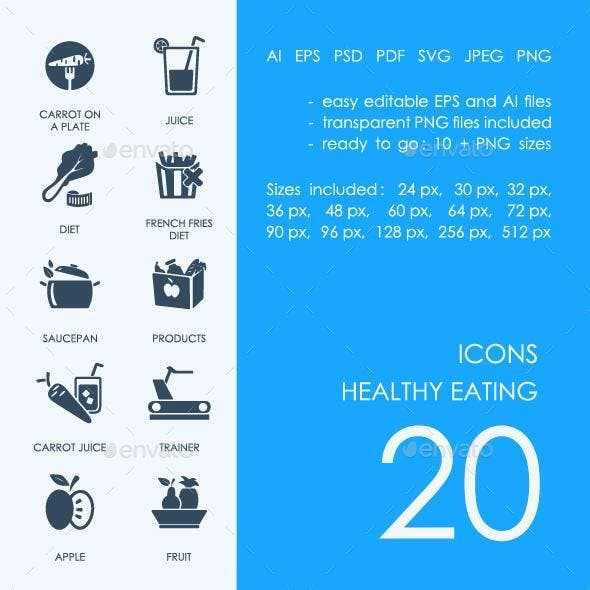 Healthy eating icons