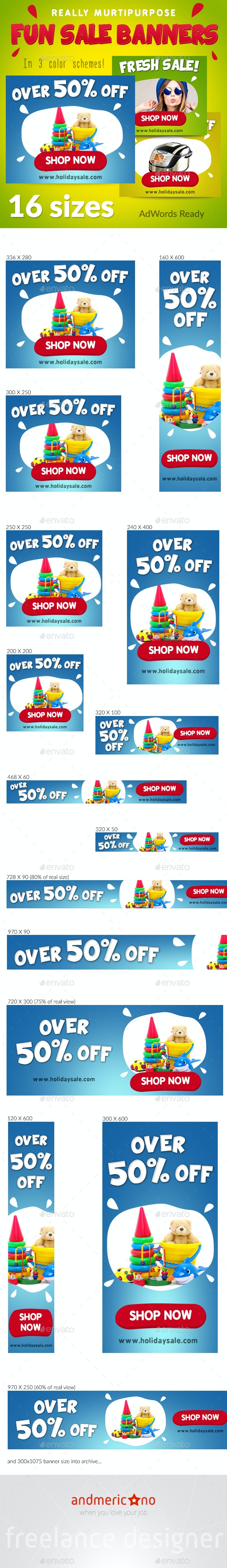 Fun Holidays Banners Set - Banners & Ads Web Elements