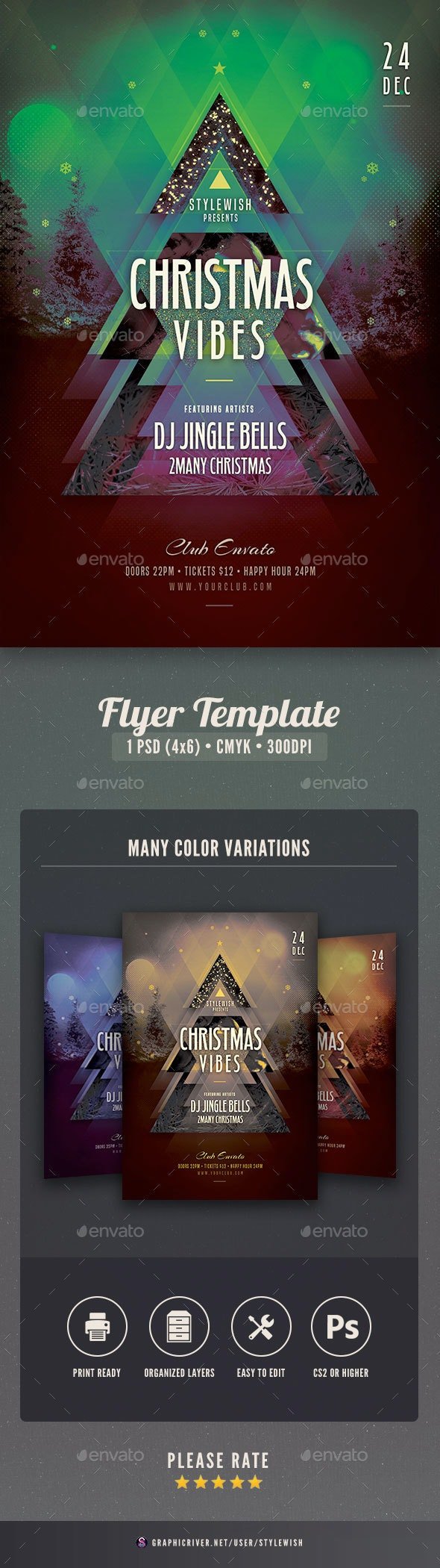 Christmas Vibes Flyer Template - Clubs & Parties Events