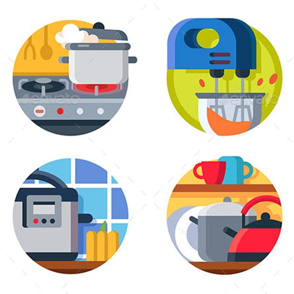 Kitchenware Icon Stove and Kettle