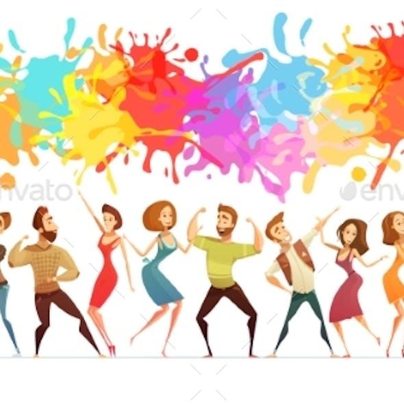 Dancing People Banner Colored Cartoon Banner