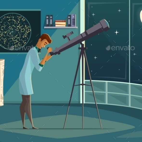 Astronomer with Telescope Retro Cartoon Poster
