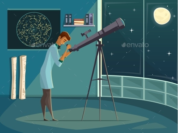 Astronomer with Telescope Retro Cartoon Poster - People Characters