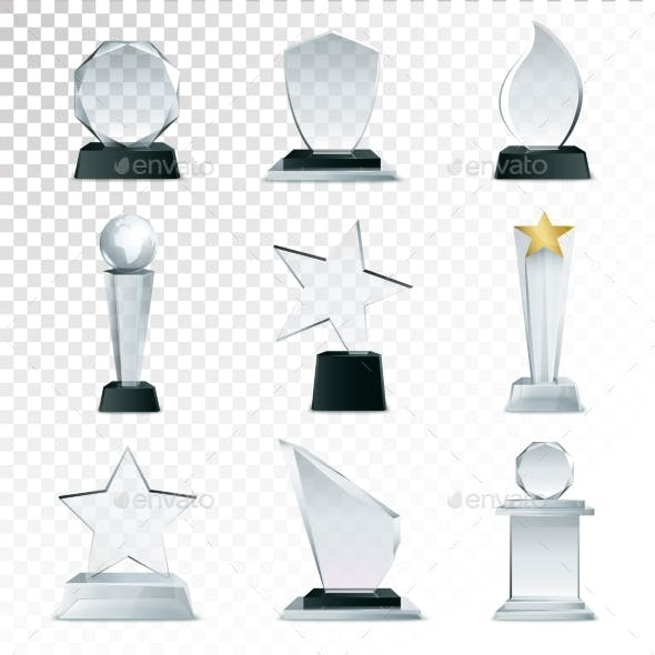 Glass Trophies  Collection Transparent Realistic