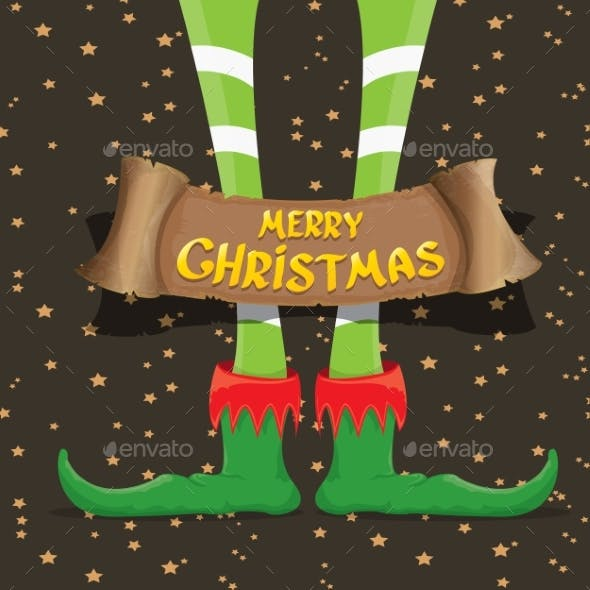 Merry Christmas Card with Cartoon Elf Legs